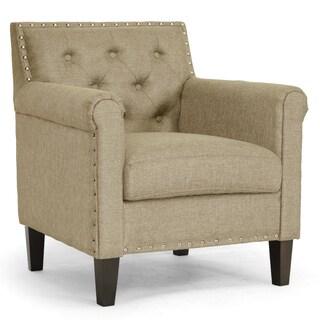 Baxton Studio Thalassa Dark Beige Fabric Modern Arm Chair
