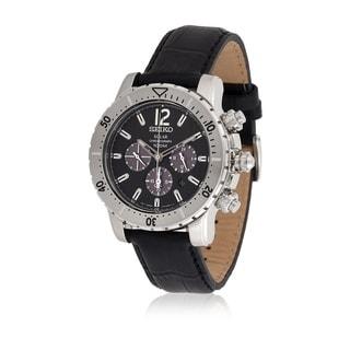 Seiko Men's SSC223P2 Solar Black Leather Watch