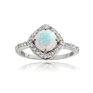 Glitzy Rocks Sterling Silver Created Opal and White Topaz Diamond Shape Ring