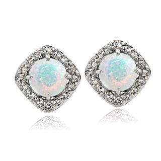 Glitzy Rocks Sterling Silver Created Opal with White Topaz Diamond Shape Stud Earrings