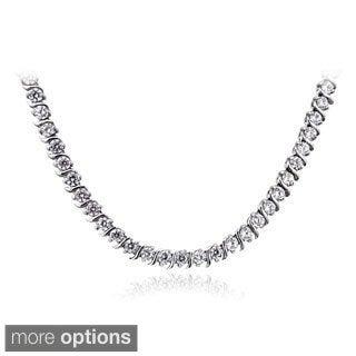 ICZ Stonez Sterling Silver 10 3/5ct TGW Cubic Zirconia S-design Tennis Necklace