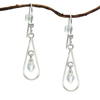 Jewelry by Dawn Sterling Silver Open Teardrop Crystal Moonlight Earrings