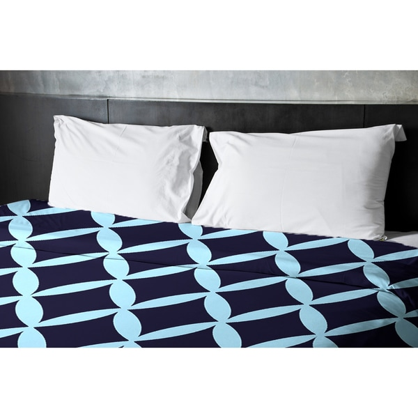 68 x 88 Omar and Spring Navy Geometric Duvet Cover