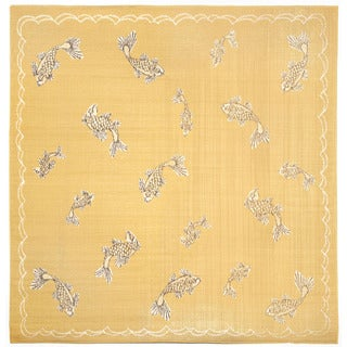 Lucky Fish Yellow Outdoor Rug (7'10 Square)