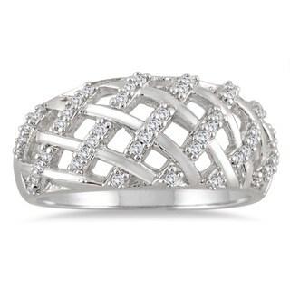 10k White Gold 1/4ct TDW White Round-cut Woven Diamond Ring (I-J, I2-I3)