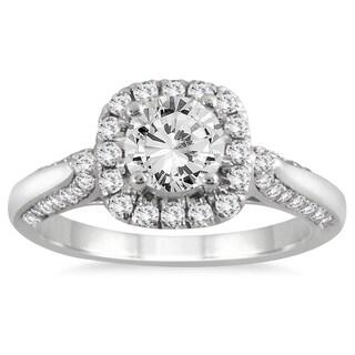 14k White Gold 1 1/4ct TDW Round-cut Diamond Halo Engagement Ring (I-J, I2-I3)