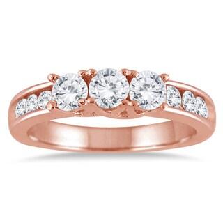 10k Rose Gold 1ct TDW Diamond Three-stone Ring (I-J, I2-I3)