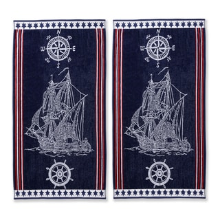Simple Elegance Superior Oversized Cotton Jacquard Beach Towels Ship (Set of 2)