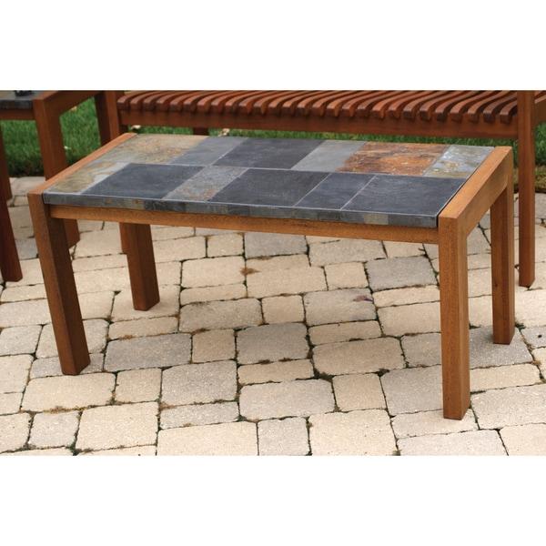 Slate Outdoor Coffee Table: Slate And Eucalyptus Coffee Table