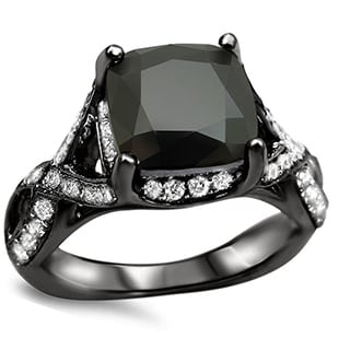 Noori 18k Black Gold 3 1/4ct TDW Cushion-cut Black/ White Diamond Engagement Ring (G-H, SI1-SI2)
