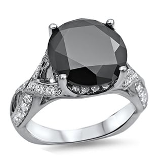 Noori 18k White Gold 4 1/4ct TDW Round-cut Black/ White Diamond Ring (G-H, SI1-SI2)