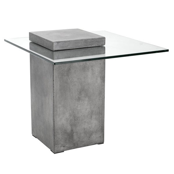 Sunpan Grange Anthracite Grey Concrete Glass End Table
