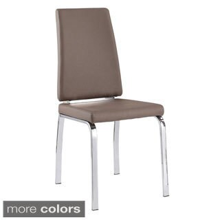 Lex Faux Leather Chrome Metal Side Chair (Set of 2)