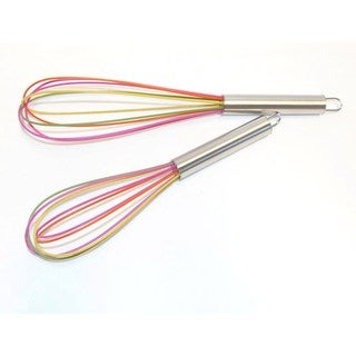 Multi Color Silicone Coated Stainless Steel 2-piece Whisk Set
