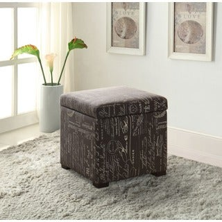 Oh! Home Pauline Written Text Plush Storage Ottoman with Jewelry Tray