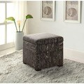 Linon Script Judith Upholstered Square Ottoman with Jewelry Storage