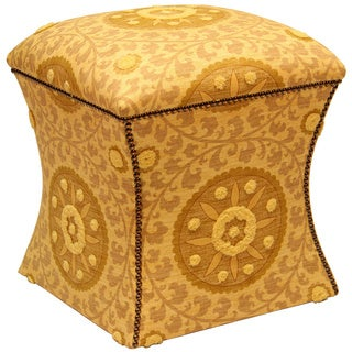 Yellow Floral Burst Cleo Bench Stool with Nailhead Trim