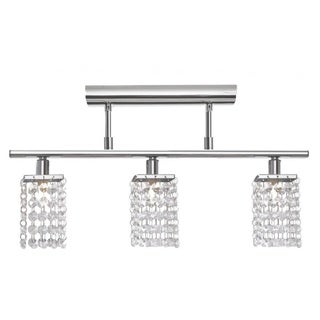 Chrome 3-light Bar Semi Flush Mount with Clear Crystals