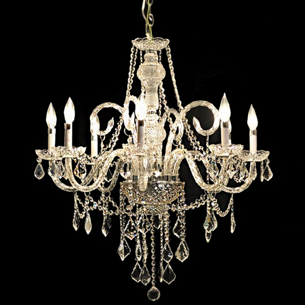 Chrome 8-light Chandelier with Clear Crystals