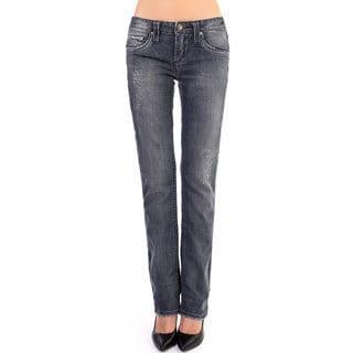 Stitch's Women's Straight Leg Blue Denim Jean Pants