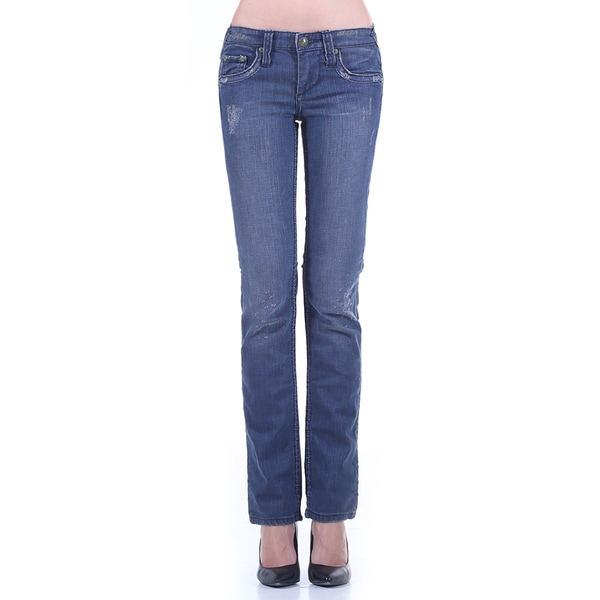 Stitch's Women's Slim Fit Straight Leg Blue Jean Pants