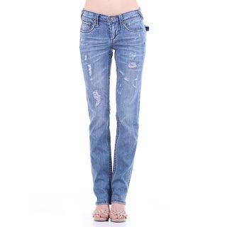 Stitch's Women's Blue Soft Worn Denim Jean Straight Leg Pants