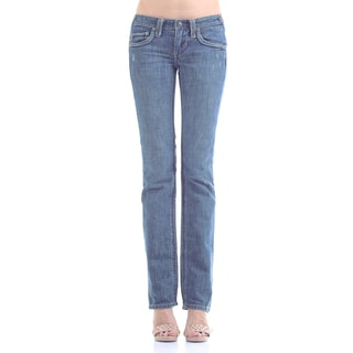 Stitch's Women's Blue Wash Soft Denim Jeans Straight Leg Pants