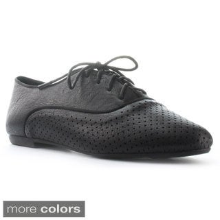 DbDk Women's Clement-2 Perforated Lace-up Oxford Flats