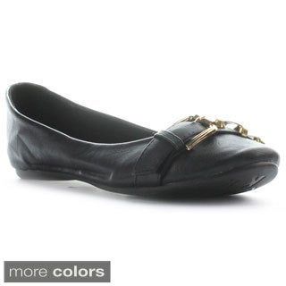 Kayleen Women's Alani-2 Flat Stud Embellished Buckle Ballerina Flats