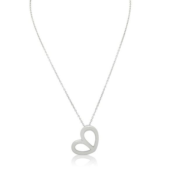Gioelli Sterling Silver Italian Double Teardrop Heart Pendant Chain Necklace