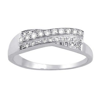 Beverly Hills Charm 10k White Gold 1/6ct TDW Diamond Double Row Crossover Ring (H-I, I2-I3)