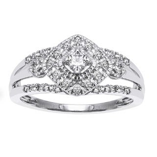 Beverly Hills Charm 10k Gold 1/3ct TDW Diamond Halo Milgrain Ring (H-I, SI2-I1)