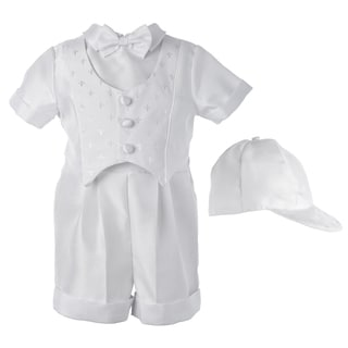 Boys White Christening/ Baptism Satin Suit