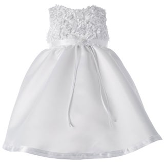 Girls Christening Short Satin Dress