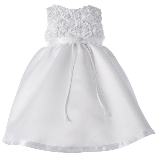 Girls Christening Short Satin Dress