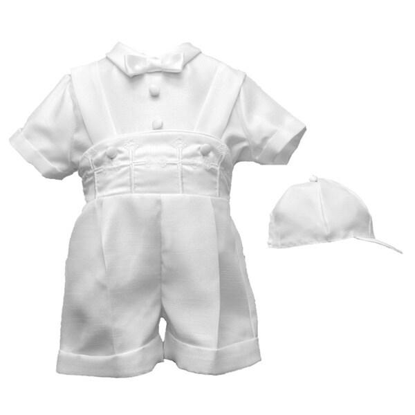 Boys White Christening/Baptism Short Set