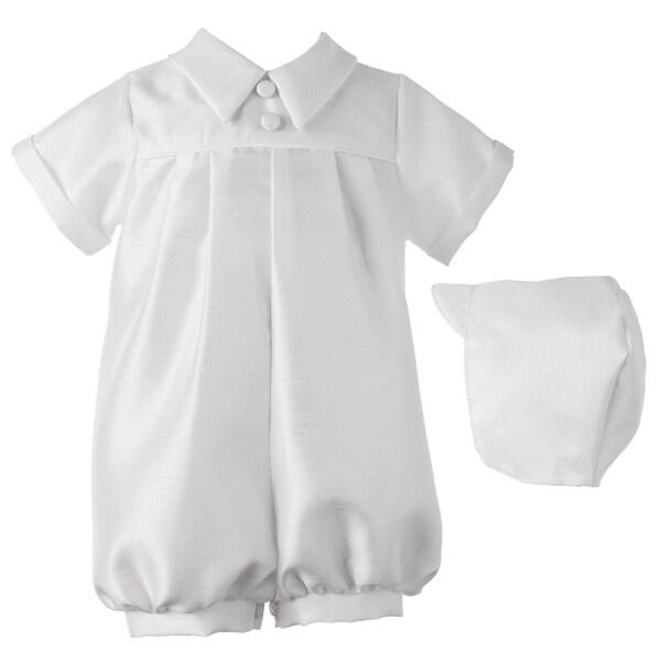 Boys White Christening/ Baptism/ Special Occasoin Short Romper Set