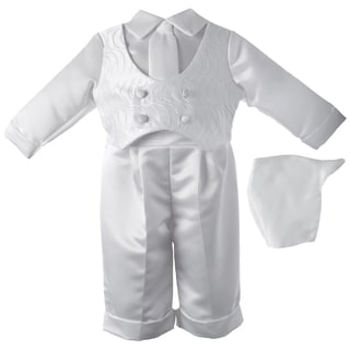 Boys' White Christening Satin Long Pant Set