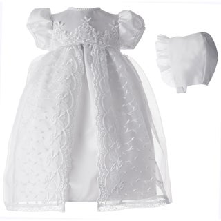 Small World Girls' White Long Dress and Hat Set