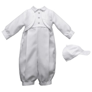 Boys White Christening/Special Occasion Long Pant Romper Set