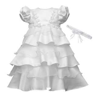 Girls White Multi-tier Chistening/ Baptism Dress
