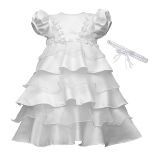 Small World Girls' White Multi-tier Chistening Dress