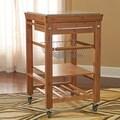 Bamboo Inlaid Granite Top Kitchen Cart