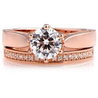 Rose Gold Over Sterling Silver Cubic Zirconia Engagement Ring