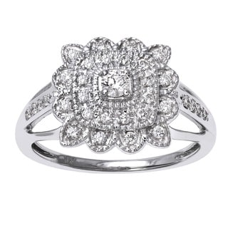 Beverly Hills Charm 10K Gold 1/3ct TDW Diamond Flower Halo Engagement Ring (H-I, SI2-I1)