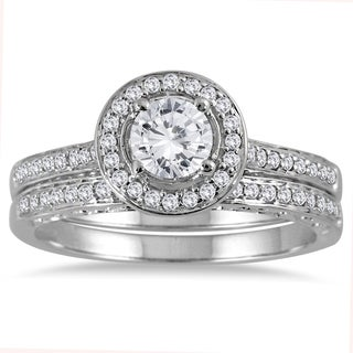 14k White Gold 7/8ct TDW Diamond Halo Bridal Set (I-J, I2-I3)