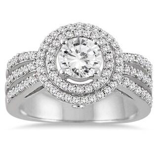 14k White Gold 1 1/5ct TDW Diamond Halo Engagement Ring (I-J, I2-I3)