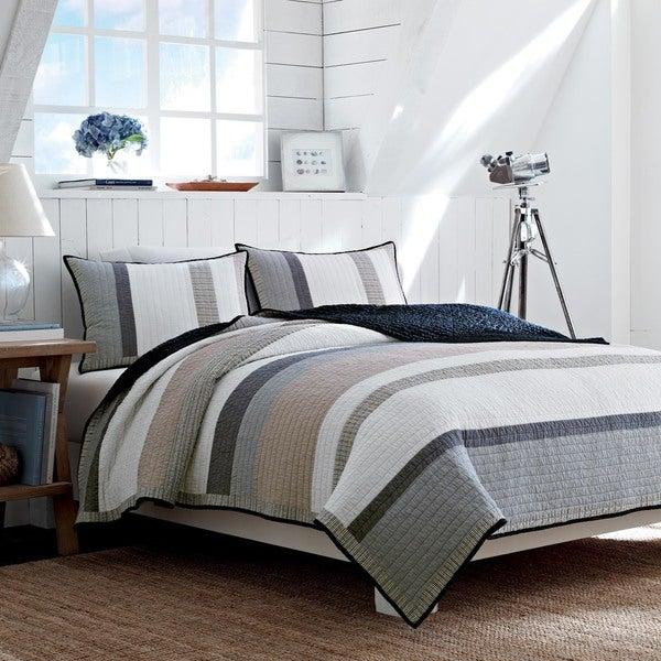 Nautica Tideway Neutral Stripe Cotton Reversible Quilt 13664472