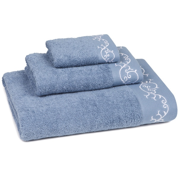 Eyelet Scroll Embroidered 3-Piece Towel Set