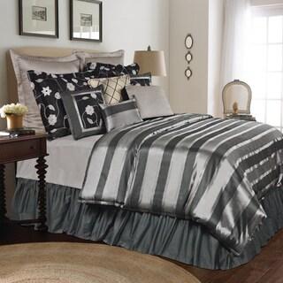 Plaza 6-piece Grey Striped Comforter Set